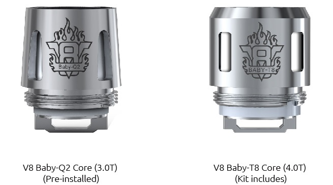 résistances du clearomiseur tfv8 big baby de smoktech