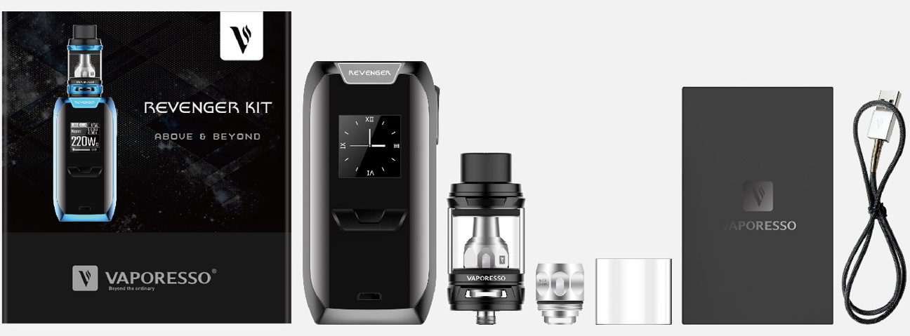 photo du contenu du kit revenger de vaporesso